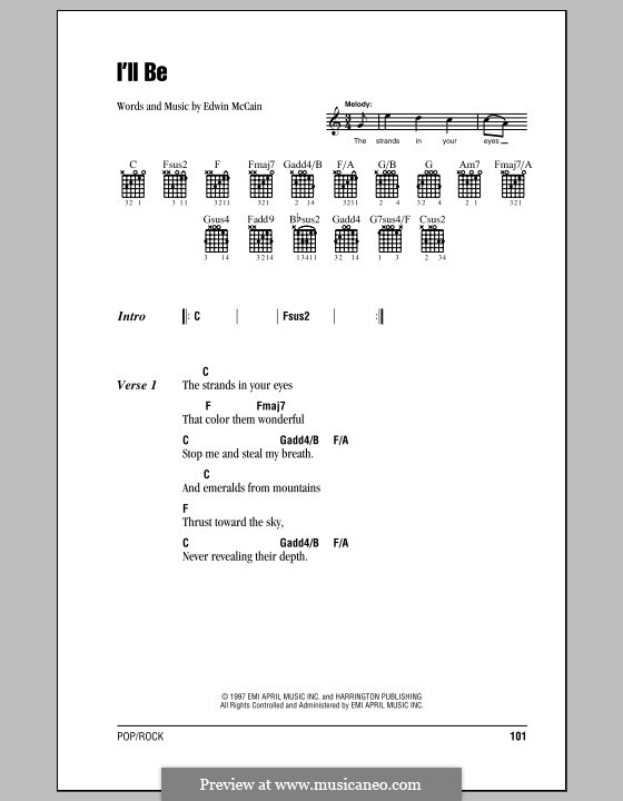 I'll Be: Lyrics and chords (with chord boxes) by Edwin McCain