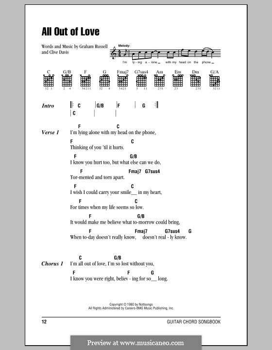 All Out of Love: Lyrics and chords (with chord boxes) by Clive Davis, Graham Russell