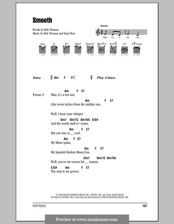 Smooth (Santana featuring Rob Thomas): Lyrics and chords (with chord boxes) by Itaal Shur, Rob Thomas