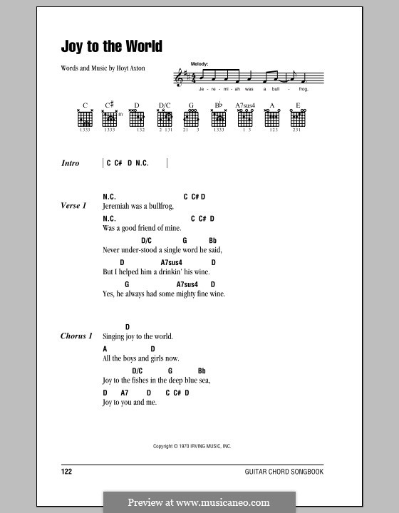 Joy to the World (Three Dog Night): Lyrics and chords (with chord boxes) by Hoyt Axton