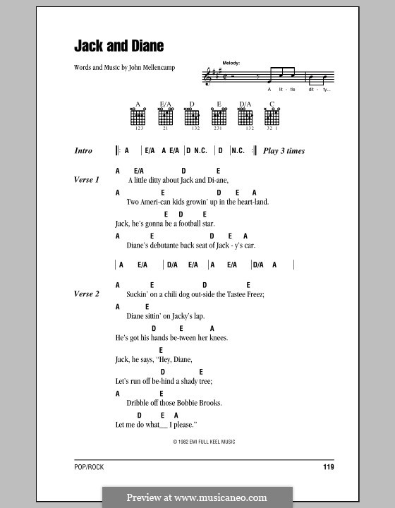 Jack and Diane: Lyrics and chords (with chord boxes) by John Mellencamp