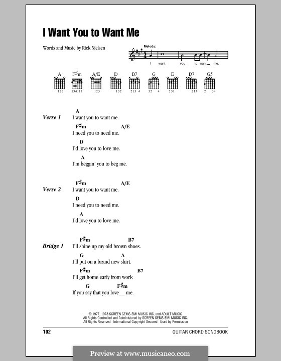I Want You To Want Me by R. Nielsen - sheet music on MusicaNeo