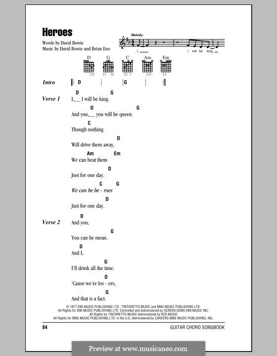 Heroes: Lyrics and chords (with chord boxes) by Brian Eno, David Bowie