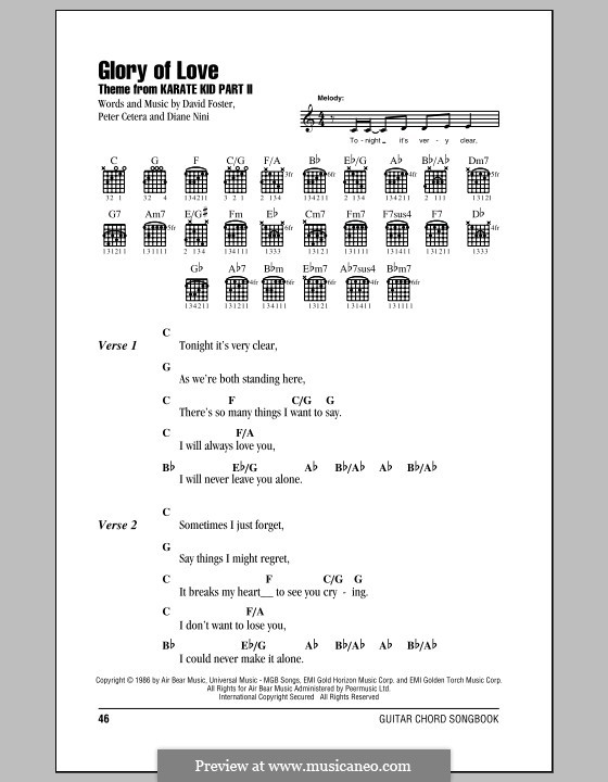 Piano piano chords for kids : Glory of Love (Theme from Karate Kid Part II) by D. Foster, D ...