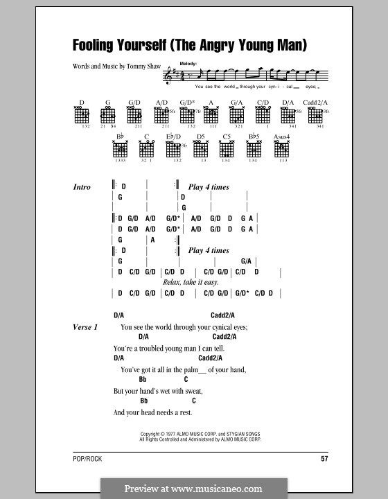 Fooling Yourself (The Angry Young Man): Lyrics and chords with chord boxes (Styx) by Tommy Shaw