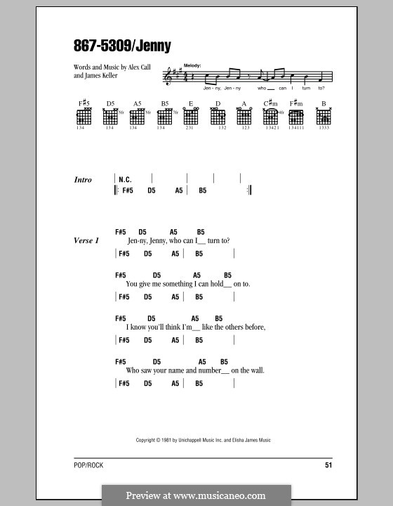 867-5309/Jenny (Tommy Tutone): Lyrics and chords (with chord boxes) by Alex Call, James Keller