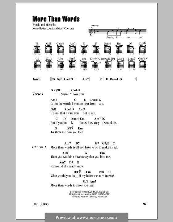 Guitar guitar tabs more than words : More Than Words (Extreme) by G. Cherone, N. Bettencourt on MusicaNeo
