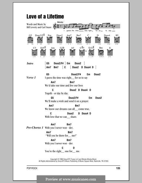Love of a Lifetime (Firehouse): Lyrics and chords (with chord boxes) by Bill Leverty, Carl Snare