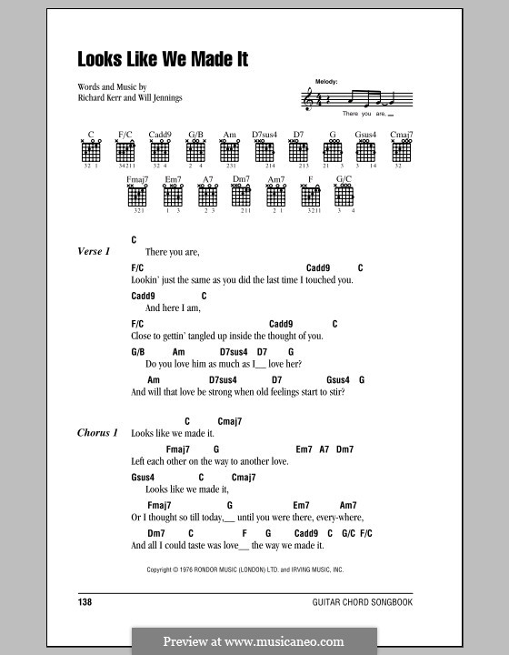 Looks Like We Made It: Lyrics and chords (with chord boxes) by Richard Kerr, Will Jennings