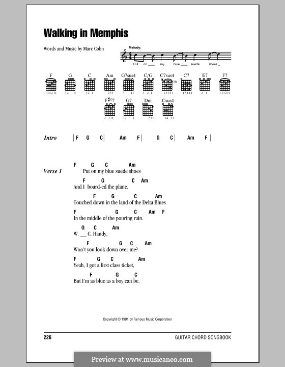 Walking in Memphis: Lyrics and chords (with chord boxes) by Marc Cohn