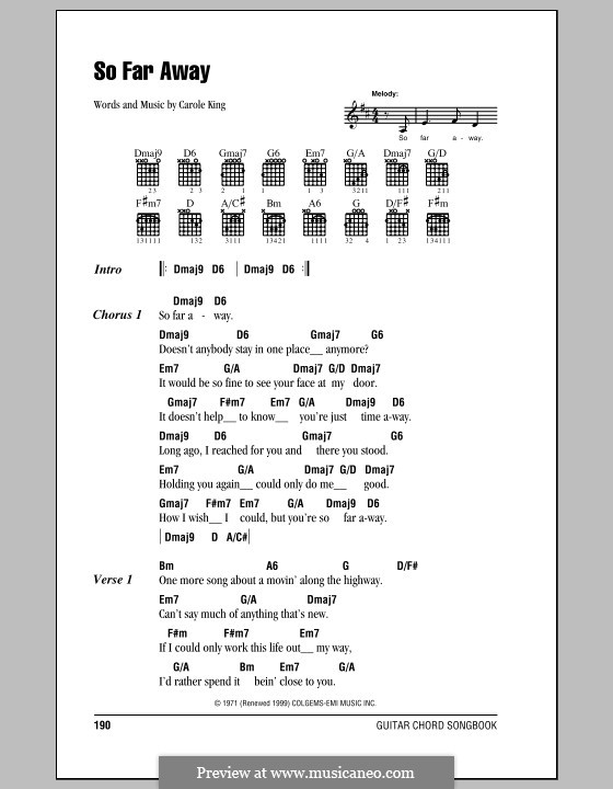 So Far Away: Lyrics and chords (with chord boxes) by Carole King