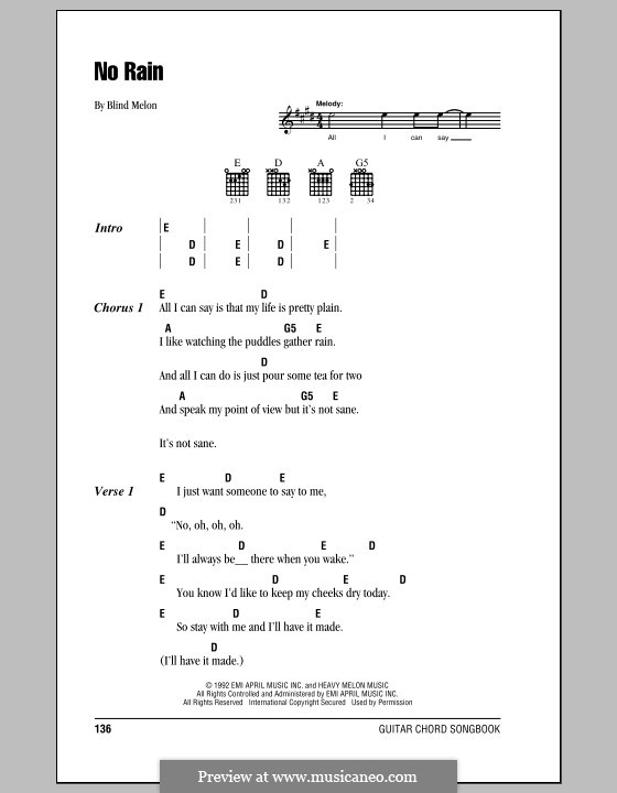 No Rain (Blind Melon): Lyrics and chords (with chord boxes) by Brad Smith, Christopher Thorn, Glen Graham, Roger Stevens, Shannon Hoon
