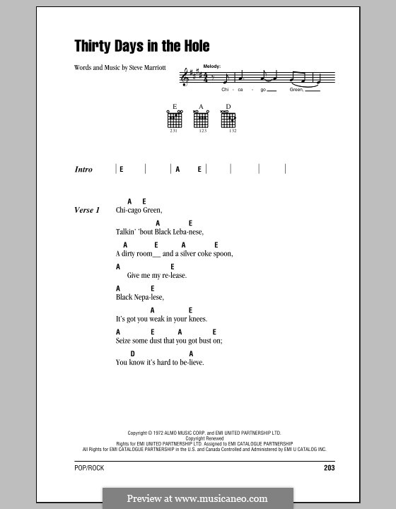Thirty Days in the Hole (Humble Pie): Lyrics and chords with chord boxes by Steve Marriott