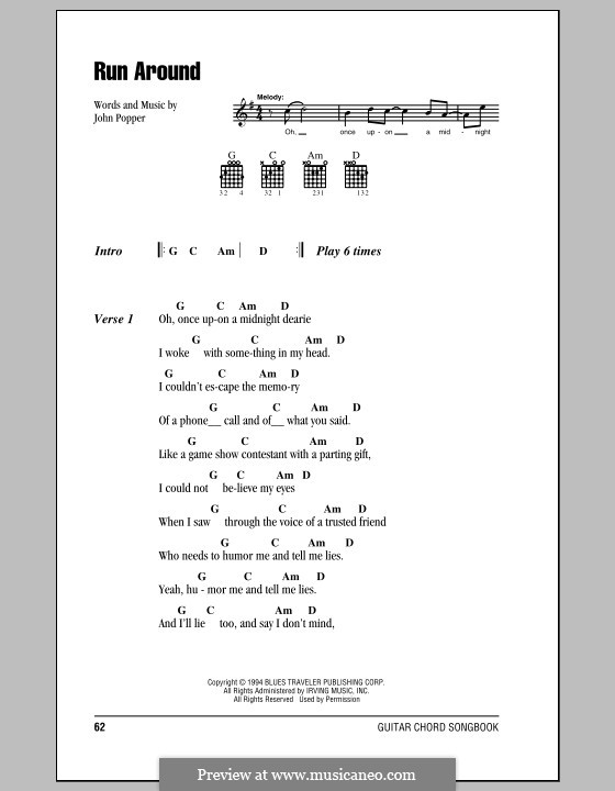 Run Around (Blues Traveler): Lyrics and chords (with chord boxes) by John Popper