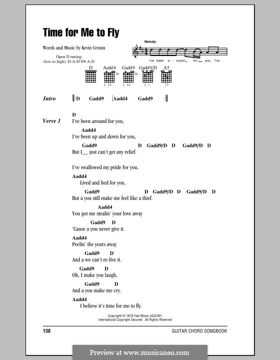 Time for Me to Fly (REO Speedwagon): Lyrics and chords (with chord boxes) by Kevin Cronin