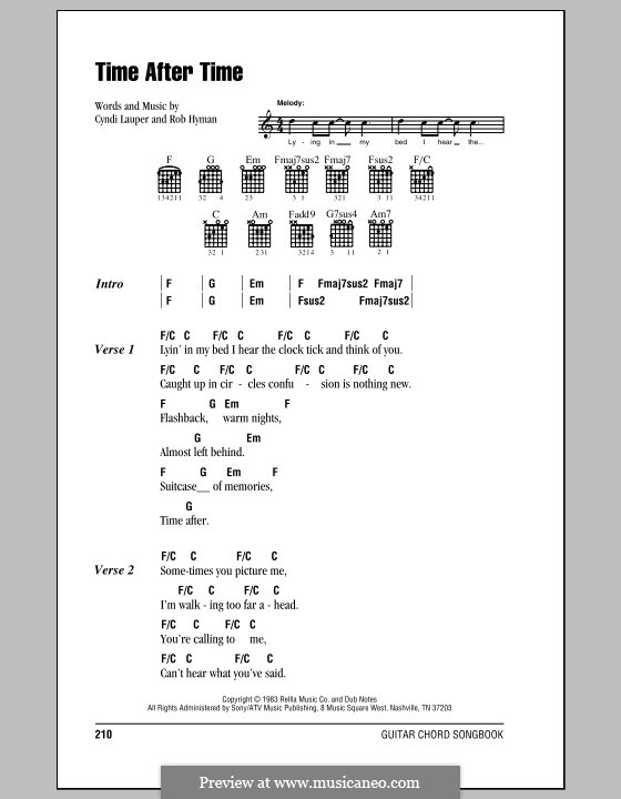 Time after Time: Lyrics and chords (with chord boxes) by Cyndi Lauper, Robert Hyman