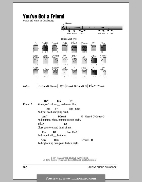 You've Got a Friend: Lyrics and chords (with chord boxes) by Carole King