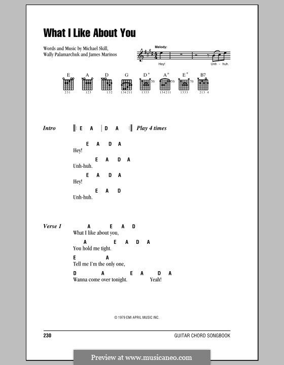 What I Like About You (The Romantics): Lyrics and chords (with chord boxes) by James Marinos, Michael Skill, Wally Palamarchuk