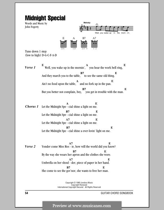 Midnight Special (Creedence Clearwater Revival): Lyrics and chords (with chord boxes) by John C. Fogerty