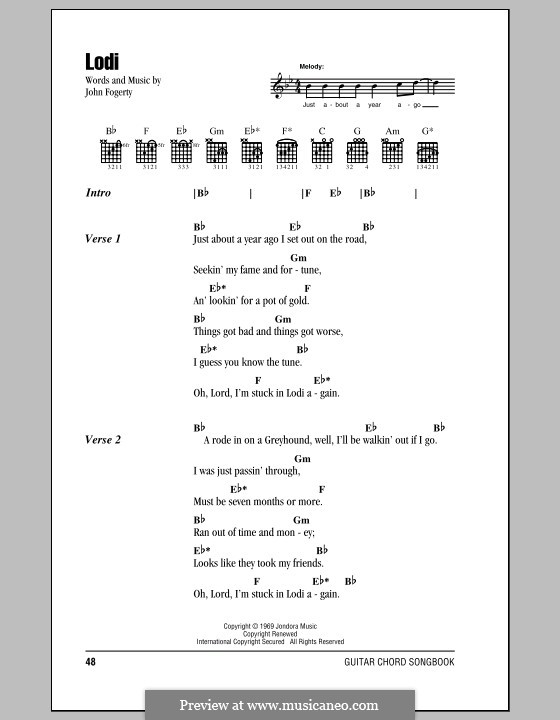 Lodi (Creedence Clearwater Revival): Lyrics and chords (with chord boxes) by John C. Fogerty