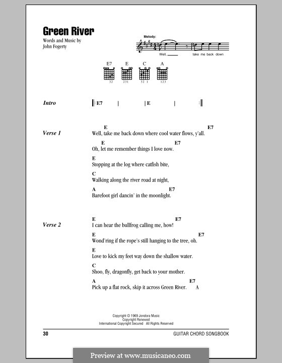 Green River (Creedence Clearwater Revival): Lyrics and chords (with chord boxes) by John C. Fogerty