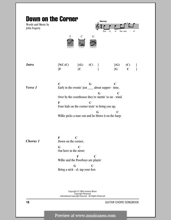 Down on the Corner (Creedence Clearwater Revival): Lyrics and chords (with chord boxes) by John C. Fogerty