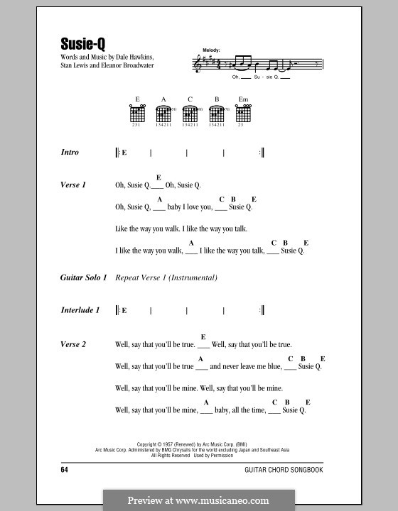 Susie-Q (Creedence Clearwater Revival): Lyrics and chords (with chord boxes) by Dale Hawkins, Eleanor Broadwater, Stan Lewis
