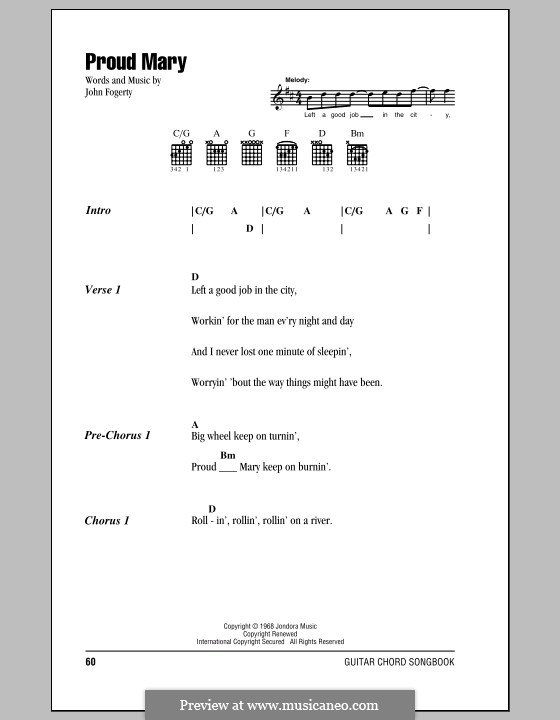 Proud Mary (Creedence Clearwater Revival): Lyrics and chords (with chord boxes) by John C. Fogerty