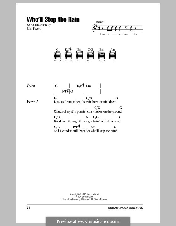 Who'll Stop the Rain (Creedence Clearwater Revival): Lyrics and chords (with chord boxes) by John C. Fogerty