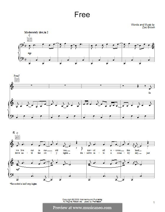Free (Zac Brown Band): For voice and piano (or guitar) by Zac Brown