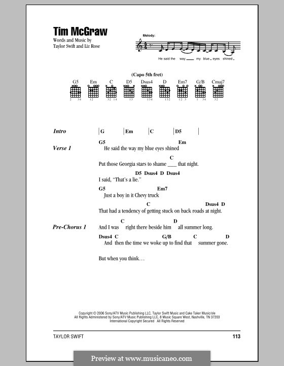 Tim McGraw (Taylor Swift): Lyrics and chords (with chord boxes) by Liz Rose