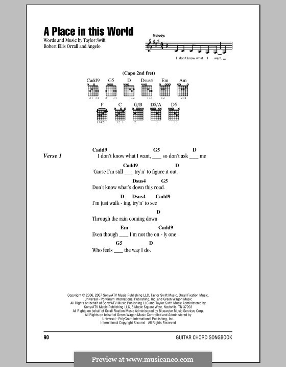 A Place in This World (Taylor Swift) by Angelo, R.E. Orrall on MusicaNeo