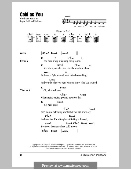 Cold as You (Taylor Swift) by L. Rose - sheet music on MusicaNeo
