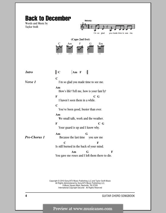 Back to December by T. Swift - sheet music on MusicaNeo