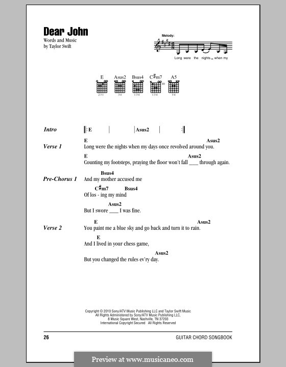 Dear John By T Swift Sheet Music On Musicaneo
