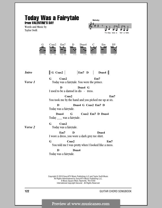 Today Was a Fairytale by T. Swift - sheet music on MusicaNeo