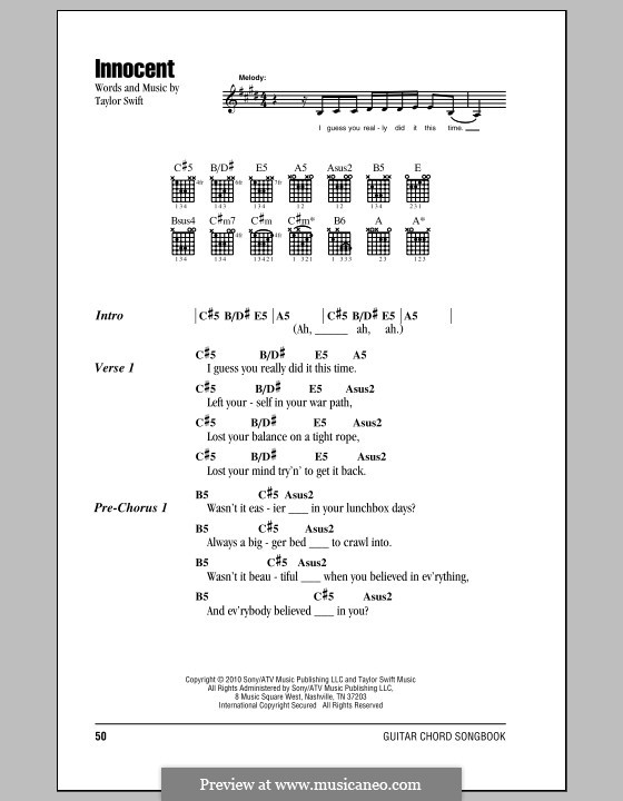 Innocent: Lyrics and chords (with chord boxes) by Taylor Swift