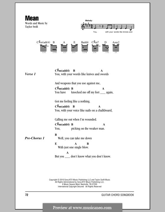 Mean By T Swift Sheet Music On Musicaneo