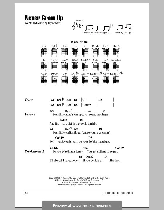Never Grow Up By T Swift Sheet Music On Musicaneo