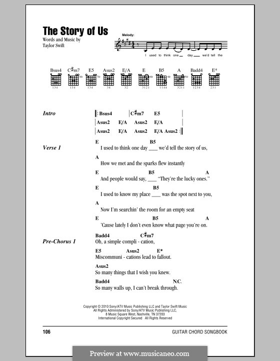 The Story Of Us By T Swift Sheet Music On Musicaneo