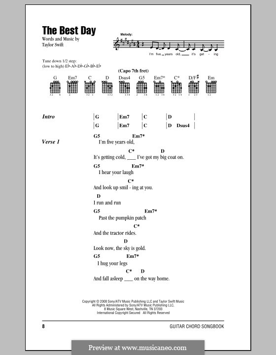 The Best Day by T. Swift - sheet music on MusicaNeo