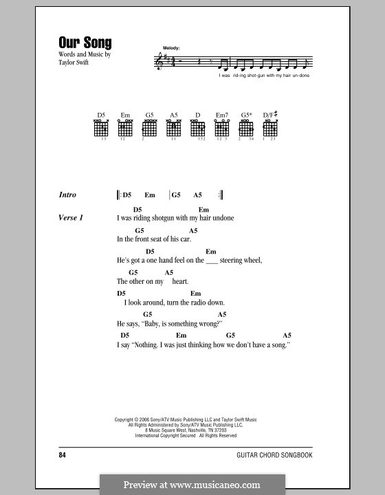 Our Song By T Swift Sheet Music On Musicaneo