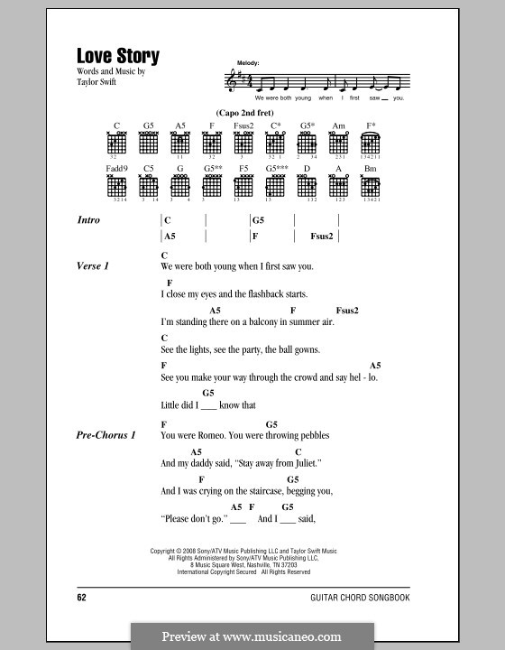 Love Story: Lyrics and chords (with chord boxes) by Taylor Swift