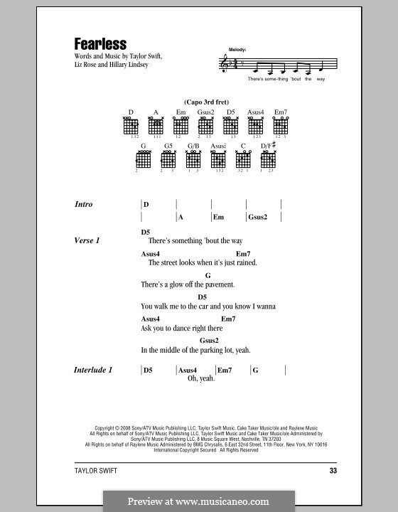 Fearless (Taylor Swift): Lyrics and chords (with chord boxes) by Hillary Lindsey, Liz Rose
