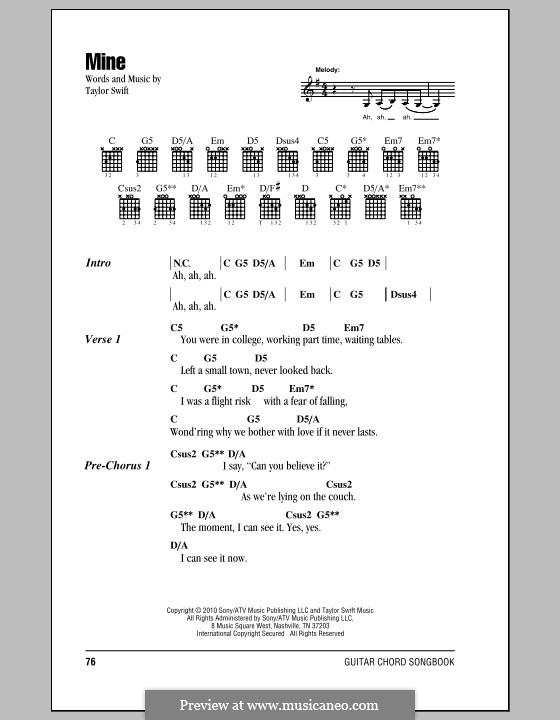 Mine by T. Swift - sheet music on MusicaNeo