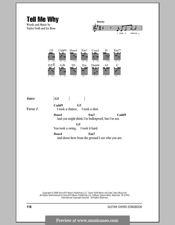 Tell Me Why (Taylor Swift): Lyrics and chords (with chord boxes) by Liz Rose