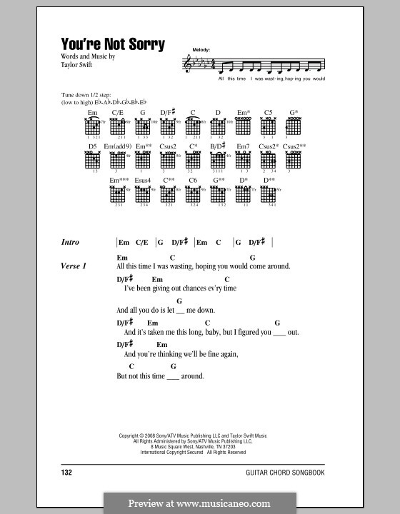 Youre Not Sorry By T Swift Sheet Music On Musicaneo