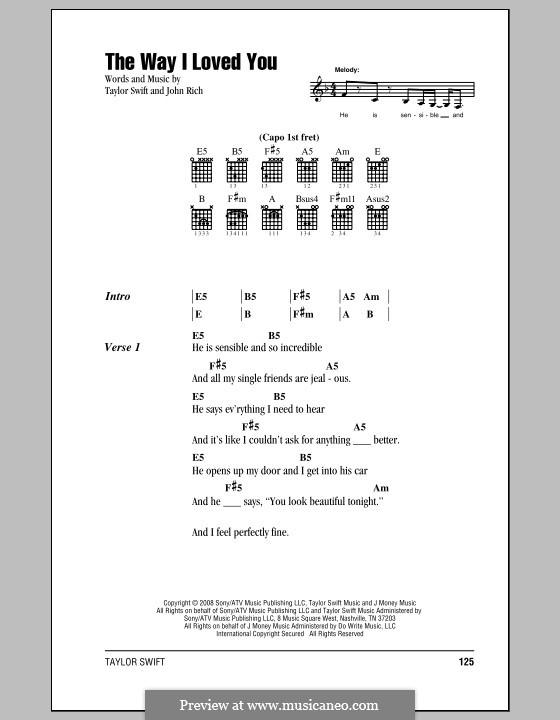 The Way I Loved You (Taylor Swift): Lyrics and chords (with chord boxes) by John Rich
