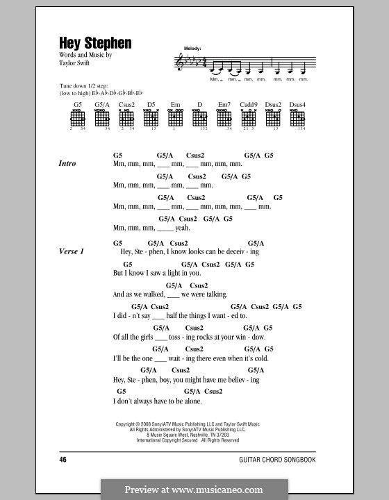 Hey Stephen By T Swift Sheet Music On Musicaneo