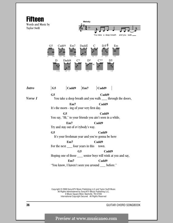 Fifteen By T Swift Sheet Music On Musicaneo